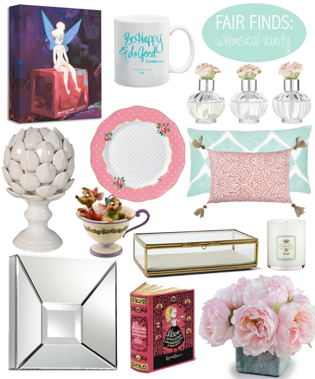 vandi-fair-finds-whimsical-vanity-disney-tinkerbell-cinderella-peonies-pink-mint-girly-decor-interior-home